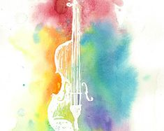 Watercolor Colorful CelloRainbow Painting by LisforLuckyCreations