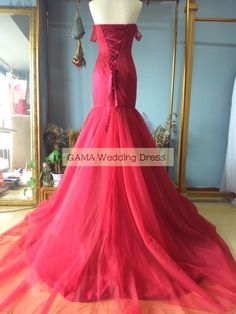 Sweetheart Off Shouldr Dark Red Tulle Mermaid Prom Dresses Formal Occasion Gown