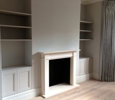 Gloucester Road, SGS Design Ltd Chesney's fireplace with joinery in recess.  Little Greene Paint Company French Grey.  Havwoods flooring.