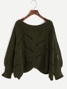 Shop Army Green Lantern Sleeve Hollow Chunky Knit Sweater online. SheIn offers Army Green Lantern Sleeve Hollow Chunky Knit Sweater & more to fit your fashionable needs.