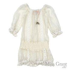 Miss Grant udsalg børnetøj Off-white hør kjole med frynser tilbud børnetøj