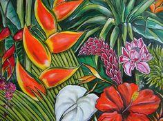 Dessin fleur tropicale beau motif aquarelle vecteur for Commande fleurs par internet