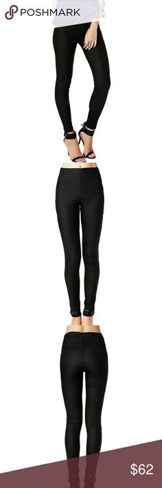 Black Premium High Waist Skinny Fit Dress Pant Black Premium High Waist Skinny Fit Dress Pant with Hidden Back Zipper. These are an excellent quality coated stretchy material, that works well to dress up an outfit for a night out or pair with a flowy top and blazer for with wear. Q2 Pants Skinny