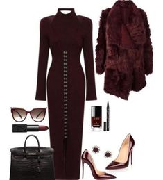 Burgundy dress with fur coat outfit idea for winter Smart casual outfits for winter Smart Casual Outfit, Casual Winter Outfits, Classy Outfits, Chic Outfits, Outfit Winter, Work Fashion, Fashion Looks, Fur Coat Outfit, Coat Dress