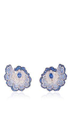 18K White Gold Enchanted Golden Fan Sapphire Earring by Vanleles | Moda Operandi