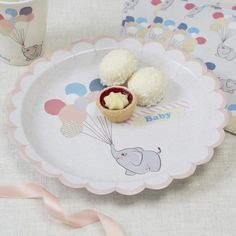 These Ginger Ray Elephant Baby Shower Lunch Plates feature a design of a cute elephant holding pastel-colored balloons. Mix and match these elephant plates with other circus animal-themed tableware and decorations for your vintage baby shower! Baby Shower Lunch, Décoration Baby Shower, Baby Shower Plates, Baby Shower Photo Booth, Birthday Bunting, Party Bunting, Birthday Party Decorations, Elephant Balloon, Baby Balloon