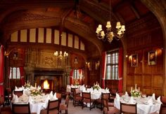 The Tudor Suite Dining Hall at Hever Castle (Anne Boleyn childhood house), where breakfast is served.