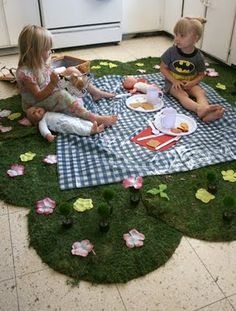 Indoor picnic, perfect for a rainy day activity