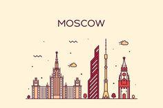 Moscow Skyline, Russia Vector Illustration AI, EPS