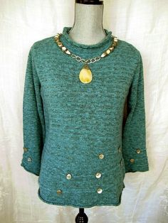 WILLOW Anthropologie Women's Black Teal Blue Twill Cotton Blend Sweater Small M #Willow #Collared