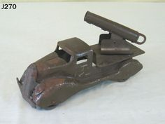 VINTAGE MARX PRESSED STEEL METAL TOY ARMY MILITARY CANNON TRUCK ANTIQUE RARE  #Marx