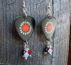 Red Hot Chili Peppers Guitar Pick Earrings with Crystal Dangles by…