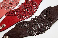 Butterfly laser cut leather bracelet от RockBodyLeather на Etsy