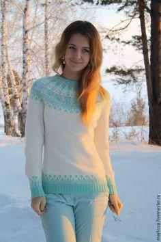 Купить Мятно-клубничное мороженое - орнамент, свитер вязаный, свитер женский, джемпер вязаный
