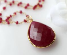 Ruby Rosary style Necklace Red Gemstone Pendant Raw by ByGerene, $120.00