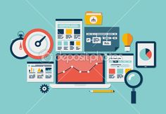 Website SEO and analytics icons — Vector de stock #33193273