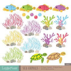 Sea Animals Digital Clipart and Papers Under The Sea by LittleMoss