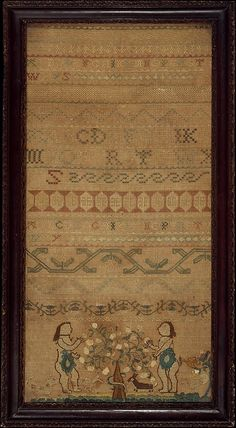 Embroidered Sampler made by Ruth Rodgers circa 1739 new england, boston Mass. in the Met collection