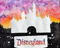 Sleeping Beauty Castle - Disneyland - Disney Inspired Hand Painted Watercolor by Violet Knight Designs.