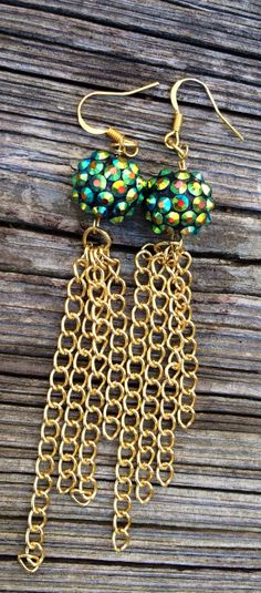 Turquoise Pave Beaded Gold Chain Tassel Drop Earrings; Hypoallergenic