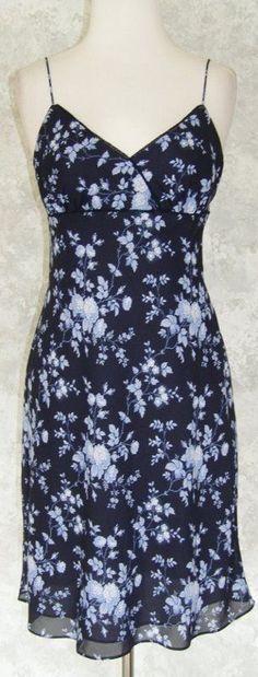 ANN TAYLOR LOFT Navy & Baby Blue Floral Empire Slip Dress Summer Vacation - 4P #AnnTaylorLOFT #Sundress #Casual