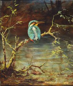 Georg Majewicz, 1897 Polkwitz-1965 Münchberg, well-known German animal and landscape painter, worked in Berlin, here: Kingfisher onthe river bank, oil / canvas, signed, ca. 37x30cm, frame