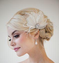 Bridal Fascinator, Feather Wedding Head Piece, Feather Fascinator, Bridal Hair Accessories - CHLOE. $89,00, via Etsy.