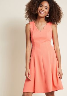 Reliably Sweet A-Line Dress in Coral | ModCloth