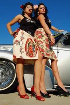 Xicana pin-up models in cute skirts.