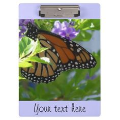 Monarch butterfly on purple flowers, personalized clipboard.  Made of ultra-durable acrylic and fits letter and A4 paper.  Personalize with your own text.   http://www.zazzle.com/littlethingsdesigns