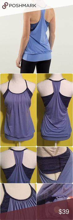 Lululemon No Limits Tank Lululemon No Limits Tank, the color is called cadet blue wee stripe lullaby, size 4, excellent condition with no flaws. Bundle to save 10% off ❤️ lululemon athletica Tops Tank Tops