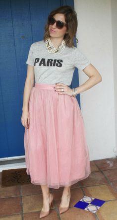 Paris tee, pink tulle skirt, nude Louboutin Midi tulle skirt Paris Tulle