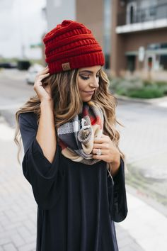 Knit Beanie- Red - Dottie Couture Boutique
