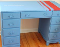 Desk painted with Chalk Paint® colors Greek Blue and Emperor's Silk