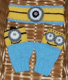 Minion Like Fingerless Gloves and HEADBAND by FASHIONABLEINFANT, $15.99