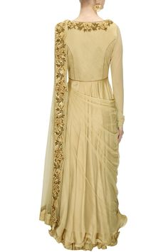 J by Jannat presents Beige dabka and thread embroidered draped anarkali set available only at Pernia's Pop-Up Shop. Simple Pakistani Dresses, Indian Gowns Dresses, Pakistani Dress Design, Indian Designer Outfits, Indian Outfits, Designer Dresses, Dress Neck Designs, Designs For Dresses, Salwar Kameez