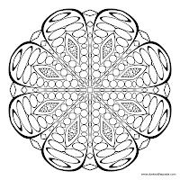 3 printable pages to color, 1 mandala and 2 patterns, intricate geometric designs.