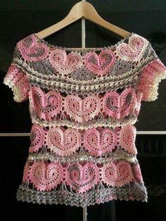 Crochet heart motifs lace top