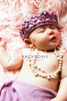 Elastic Crochet Baby Princess Crown Tiara, Two Yarn, Photo Prop