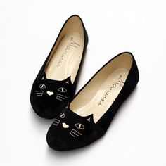 Euro size 40 please!! Black Round Toe Cat Print Embroidery Cute Flat Ankle Shoes