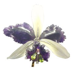 Carved amethyst peridot frosted crystal orchid brooch
