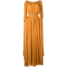 Elie Saab Pleated Belted Gown (1 910 AUD) ❤ liked on Polyvore featuring dresses, gowns, silk gown, a line dress, a line evening dresses, orange evening dresses and silk dress