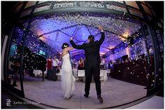 Confetti Canon used for wedding couple entrance to reception - ZaraZoo Photography