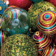For an easy centerpiece, use a bowlful of glittery tree ornaments in colors that complement your space.