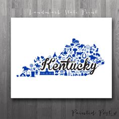 Items similar to Lexington, Kentucky Landmark State Giclée Map Art Print - - Graduation Gift Idea - Dorm Decor on Etsy Louisville Kentucky, University Of Kentucky, Kentucky Wildcats, State University, Louisville Cardinals, Kentucky Basketball, Duke Basketball, College Basketball, Basketball Players