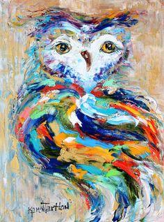 Origineel olieverfschilderij Owl door Karens Fine Art-Gallery vertegenwoordigd moderne impressionisme in oliën impasto canvas schilderij op gallery