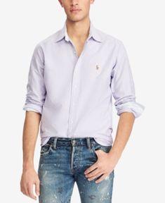 Polo Ralph Lauren Men's Classic-Fit Oxford Shirt - Soft Pink/Blue XXL