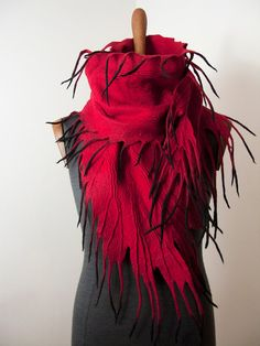 Felted Scarf Red Black Wool Scarf Red Felted от FeltedByFaith