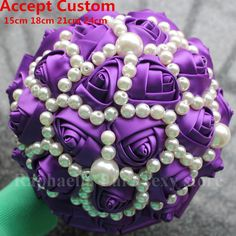 Free Shipping Purple Pearl Wedding Bouquet ,Bridal Silk Bouquet Bridesmaid Flower Girl Size Choose Best Quality Best Price Good