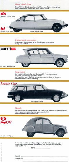 Citroen Line-Up - classic cars - auto Citroen Ds, Vintage Cars, Antique Cars, Vintage Items, Automobile, Car Advertising, Motorcycle Design, Car And Driver, Peugeot